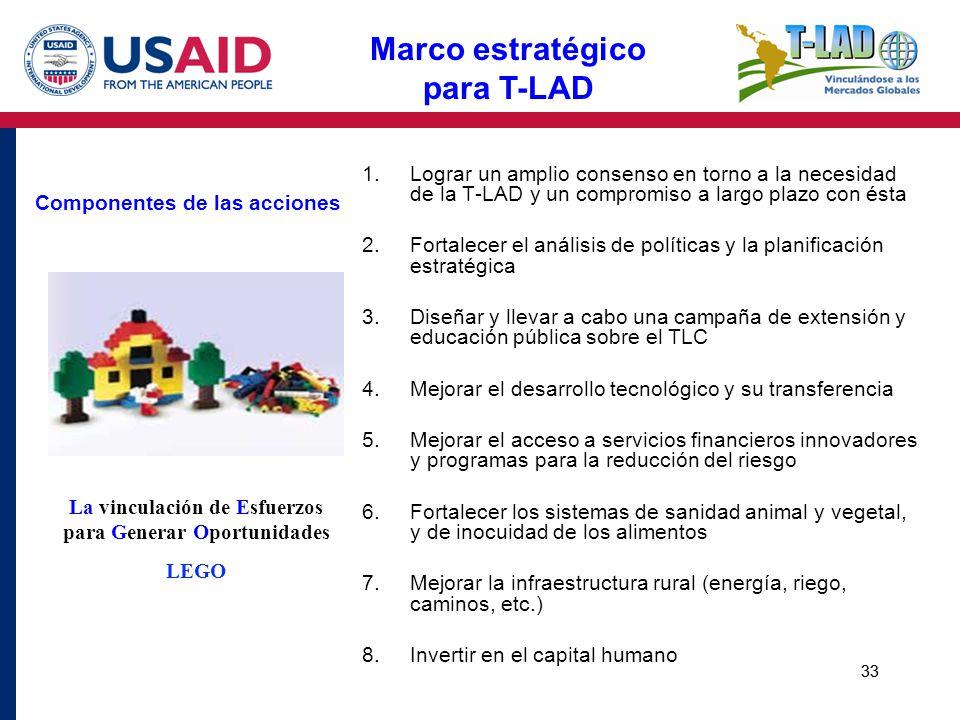33 Componentes de las acciones 1.Lograr un amplio consenso en torno a la necesidad de la T-LAD y un compromiso a largo plazo con ésta 2.Fortalecer el