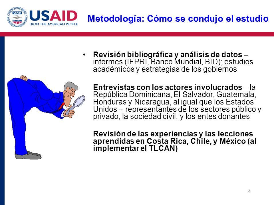4 Metodología: Cómo se condujo el estudio Revisión bibliográfica y análisis de datos – informes (IFPRI, Banco Mundial, BID); estudios académicos y est