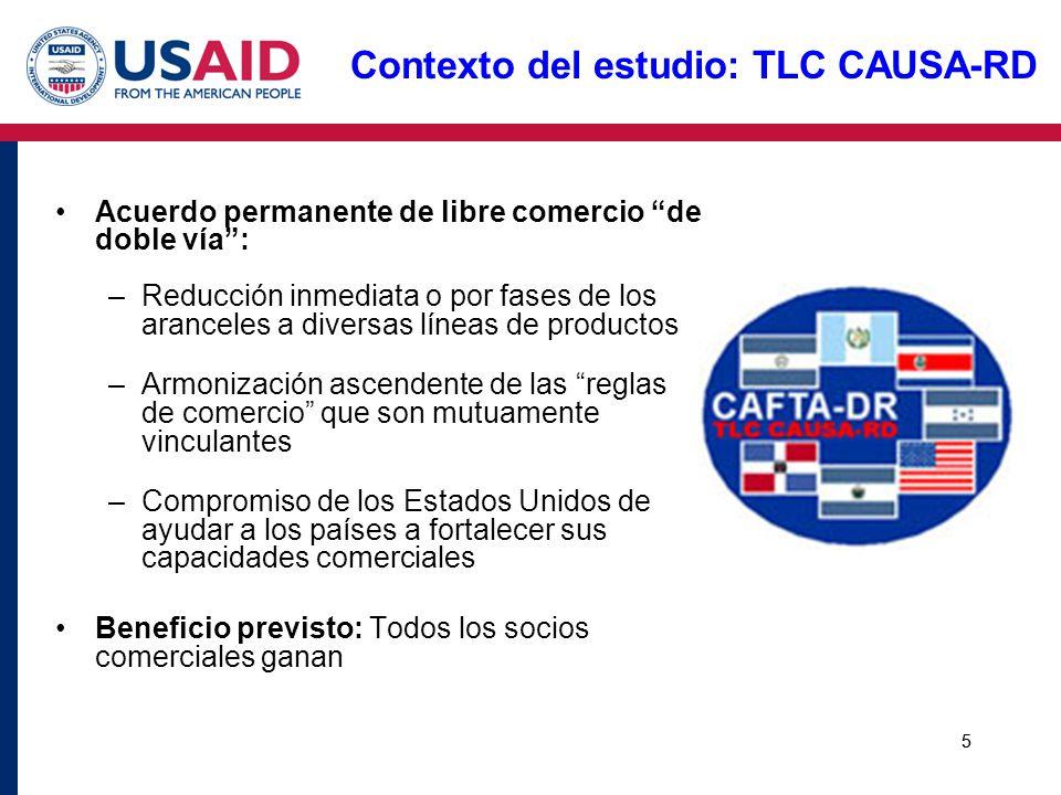 5 Contexto del estudio: TLC CAUSA-RD Acuerdo permanente de libre comercio de doble vía: –Reducción inmediata o por fases de los aranceles a diversas l