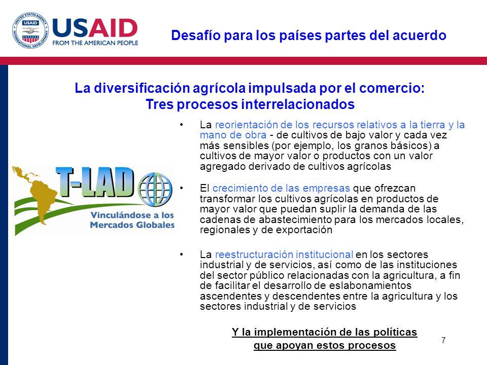 7 Desafío para los países partes del acuerdo La diversificación agrícola impulsada por el comercio: Tres procesos interrelacionados La reorientación d