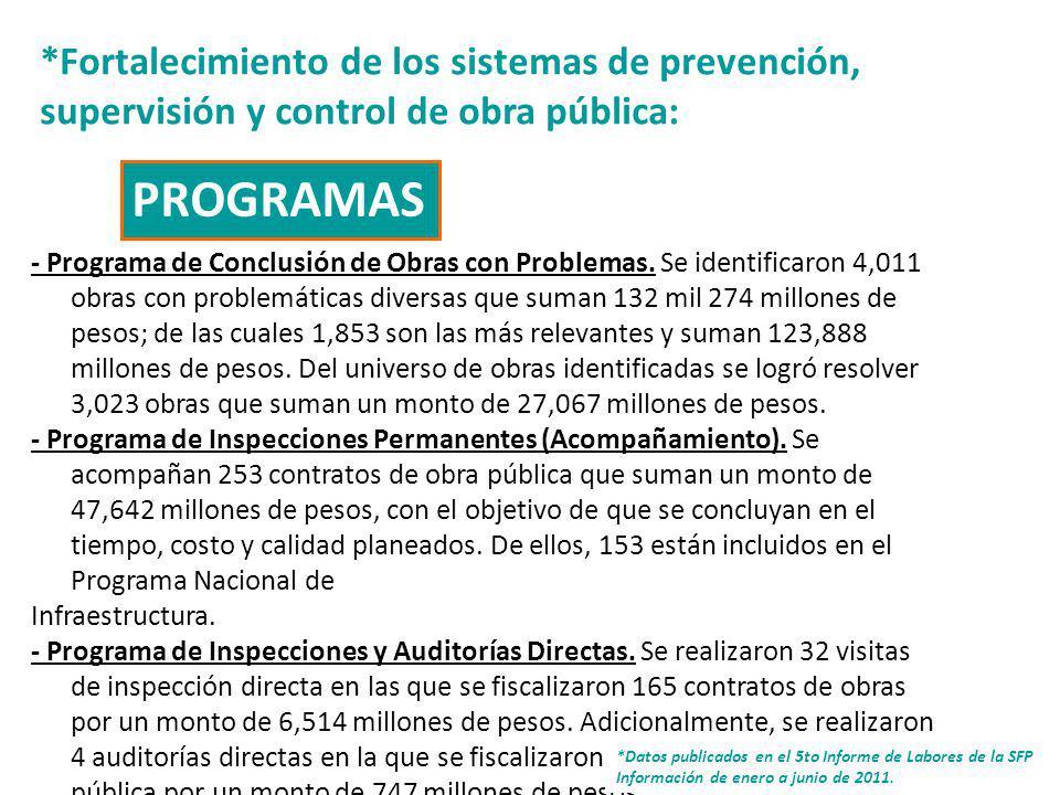 8 *Fortalecimiento de los sistemas de prevención, supervisión y control de obra pública: - Programa de Conclusión de Obras con Problemas.