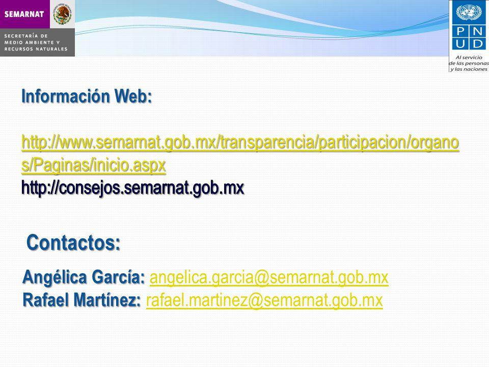 Angélica García: Angélica García: angelica.garcia@semarnat.gob.mxangelica.garcia@semarnat.gob.mx Rafael Martínez: Rafael Martínez: rafael.martinez@semarnat.gob.mx rafael.martinez@semarnat.gob.mxContactos: