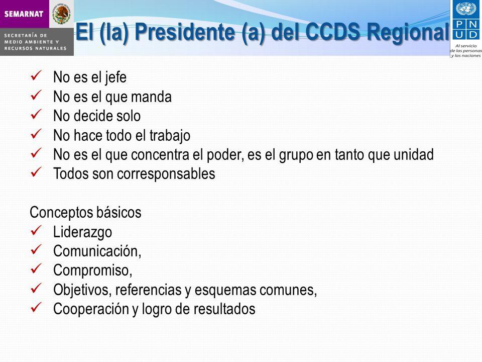 No es el jefe No es el que manda No decide solo No hace todo el trabajo No es el que concentra el poder, es el grupo en tanto que unidad Todos son corresponsables Conceptos básicos Liderazgo Comunicación, Compromiso, Objetivos, referencias y esquemas comunes, Cooperación y logro de resultados El (la) Presidente (a) del CCDS Regional
