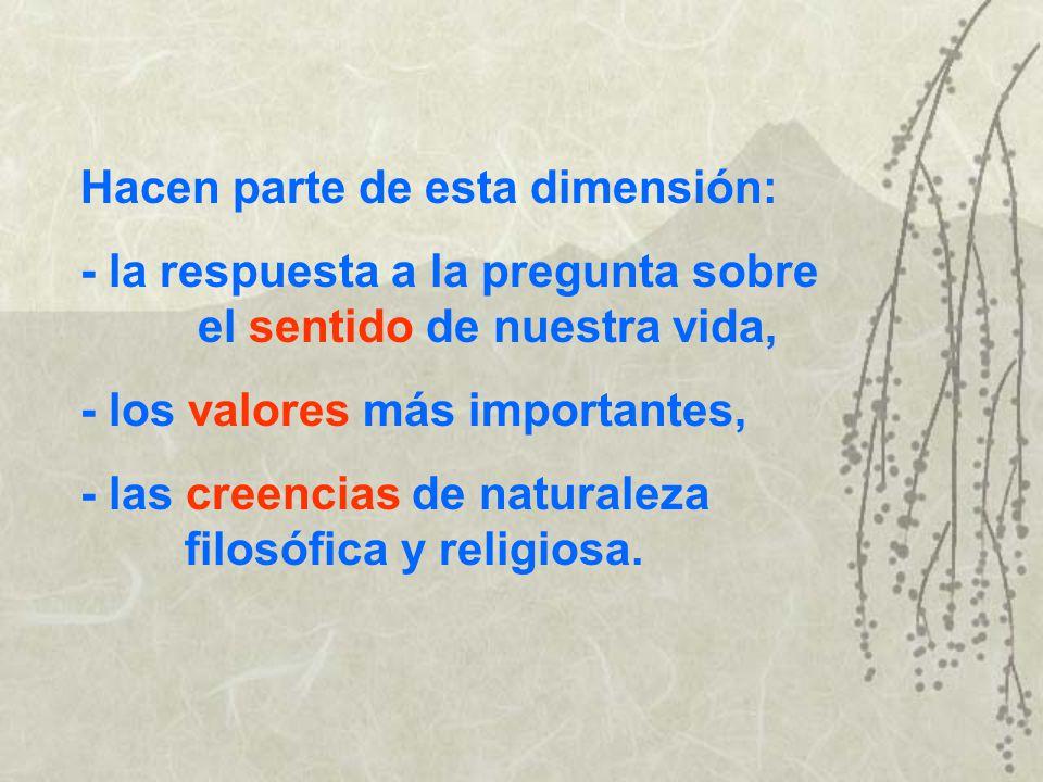 La dimensión espiritual El significado de la vida, la unificación de los intereses y objetivos en una dirección unificadora, tiene lugar alrededor de