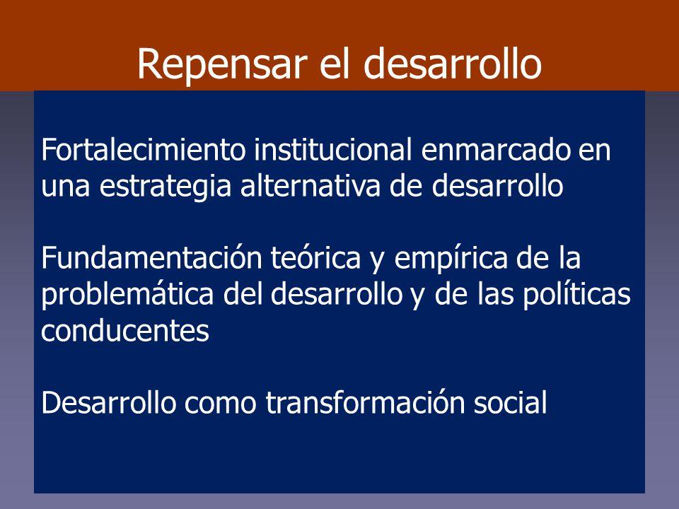 Repensar el desarrollo Fortalecimiento institucional enmarcado en una estrategia alternativa de desarrollo Fundamentación teórica y empírica de la problemática del desarrollo y de las políticas conducentes Desarrollo como transformación social