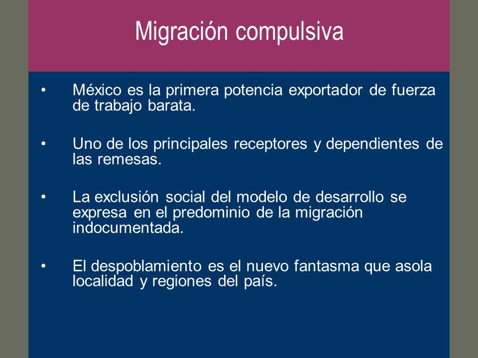 Migración compulsiva México es la primera potencia exportador de fuerza de trabajo barata.