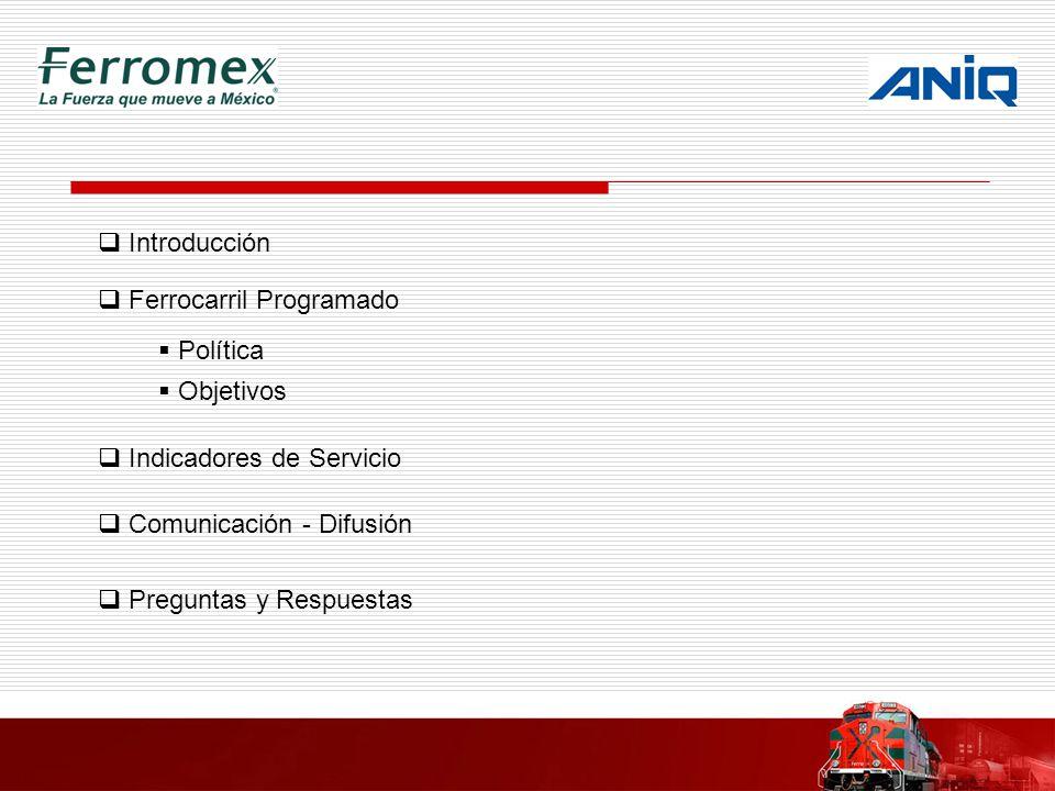 Introducción Ferrocarril Programado Política Objetivos Indicadores de Servicio Comunicación - Difusión Preguntas y Respuestas