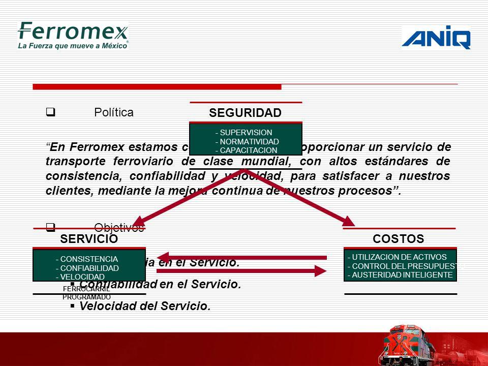 Política En Ferromex estamos comprometidos a proporcionar un servicio de transporte ferroviario de clase mundial, con altos estándares de consistencia