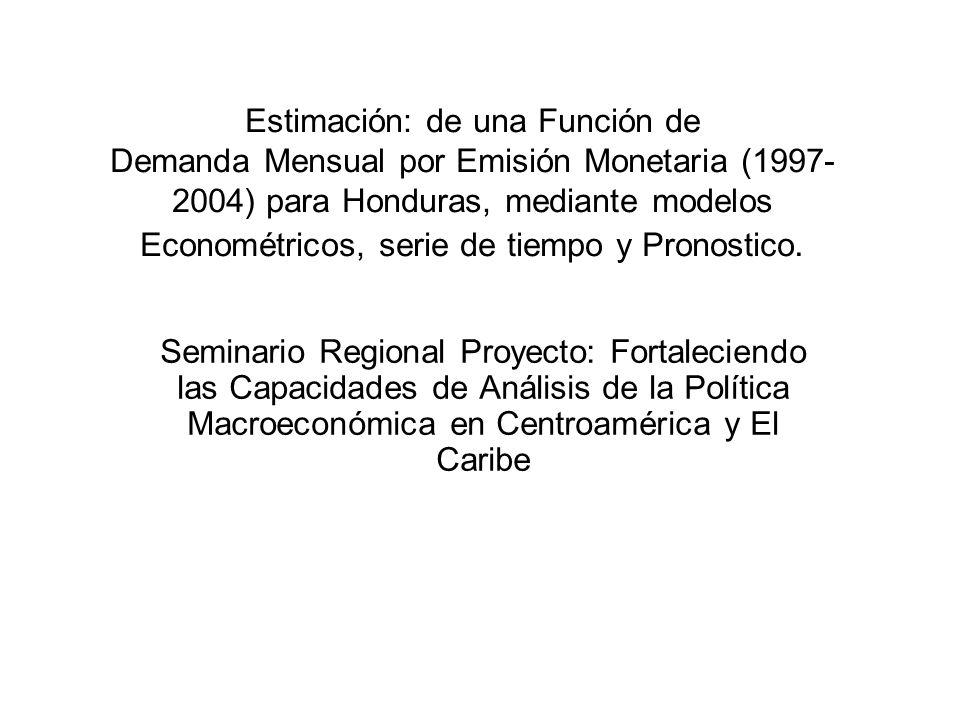 RESUMEN En el presente trabajo se estima una función de demanda mensual en términos reales para la emisión monetaria, utilizando una especificación similar a la propuesta por Cagan, además de otros modelos econométricos y de series de Tiempo.