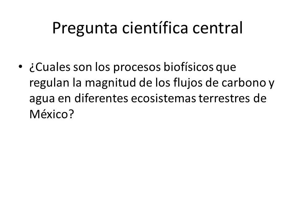 Pregunta científica central ¿Cuales son los procesos biofísicos que regulan la magnitud de los flujos de carbono y agua en diferentes ecosistemas terrestres de México