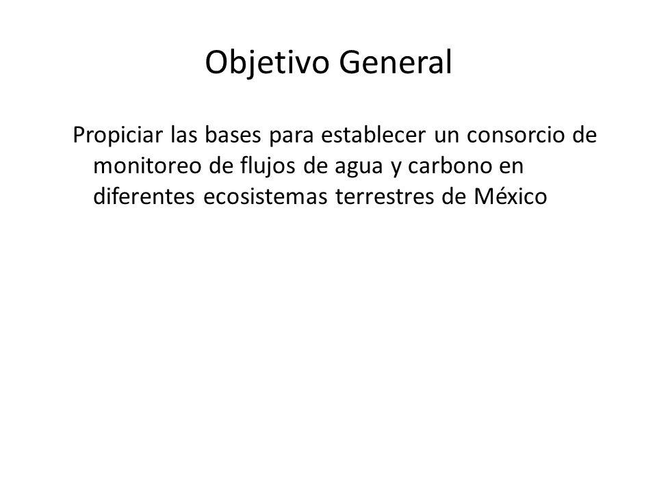 Objetivo General Propiciar las bases para establecer un consorcio de monitoreo de flujos de agua y carbono en diferentes ecosistemas terrestres de México