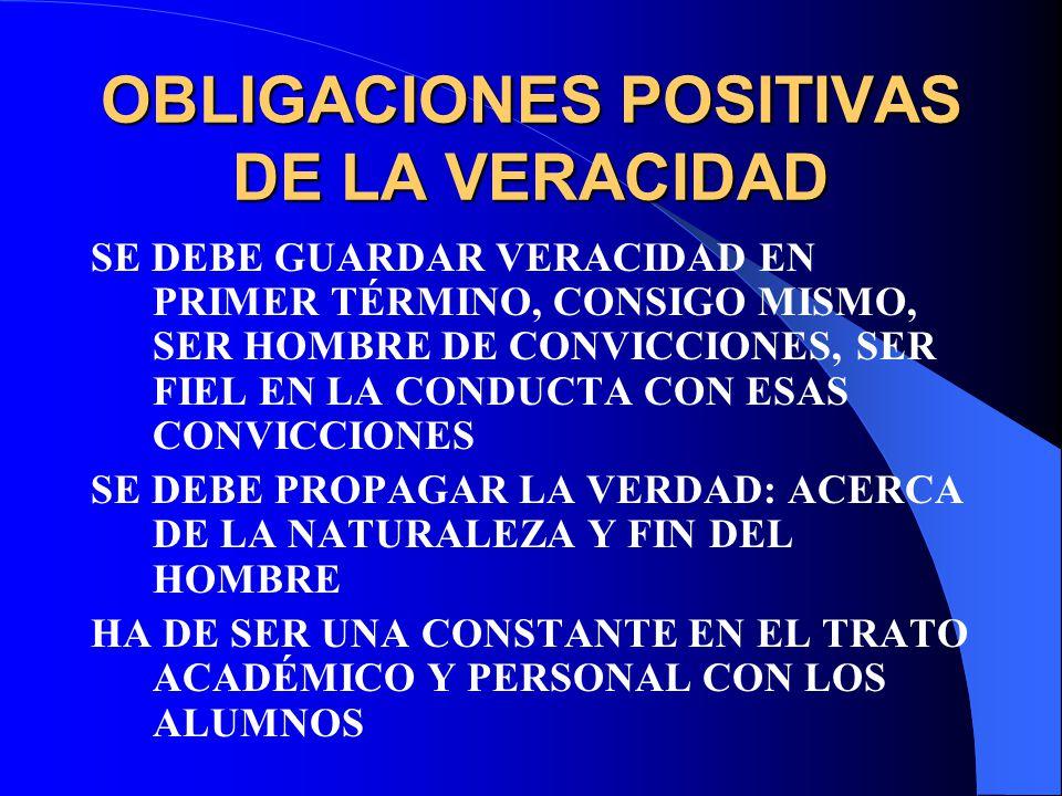 OBLIGACIONES POSITIVAS DE LA VERACIDAD SE DEBE GUARDAR VERACIDAD EN PRIMER TÉRMINO, CONSIGO MISMO, SER HOMBRE DE CONVICCIONES, SER FIEL EN LA CONDUCTA