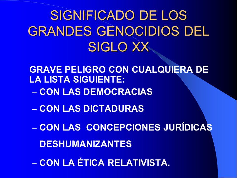 SIGNIFICADO DE LOS GRANDES GENOCIDIOS DEL SIGLO XX GRAVE PELIGRO CON CUALQUIERA DE LA LISTA SIGUIENTE: – CON LAS DEMOCRACIAS – CON LAS DICTADURAS – CO