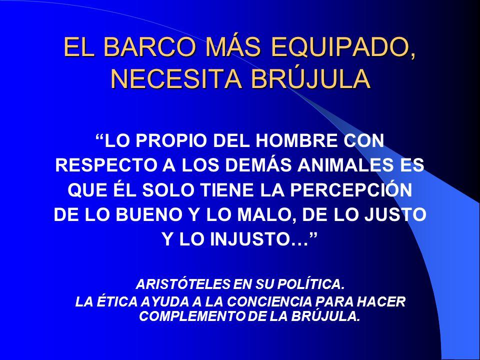 EL BARCO MÁS EQUIPADO, NECESITA BRÚJULA LO PROPIO DEL HOMBRE CON RESPECTO A LOS DEMÁS ANIMALES ES QUE ÉL SOLO TIENE LA PERCEPCIÓN DE LO BUENO Y LO MAL