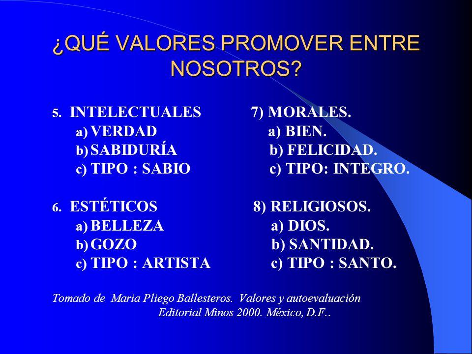¿QUÉ VALORES PROMOVER ENTRE NOSOTROS? 5. INTELECTUALES 7) MORALES. a) VERDAD a) BIEN. b) SABIDURÍA b) FELICIDAD. c) TIPO : SABIO c) TIPO: INTEGRO. 6.