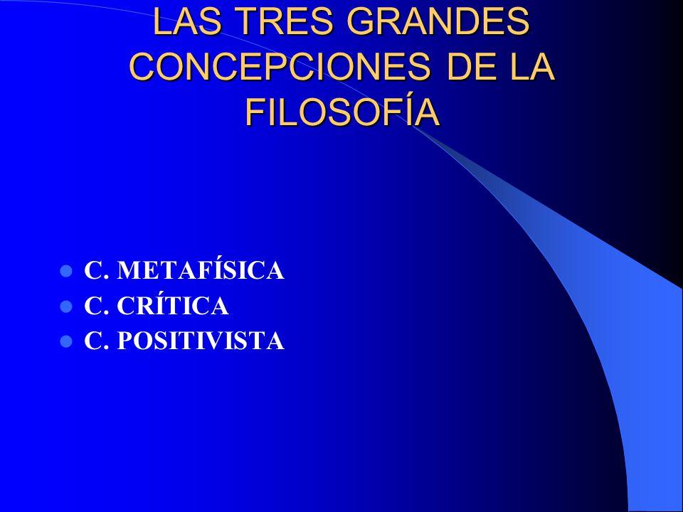 LAS TRES GRANDES CONCEPCIONES DE LA FILOSOFÍA C. METAFÍSICA C. CRÍTICA C. POSITIVISTA