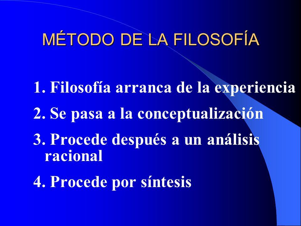 MÉTODO DE LA FILOSOFÍA 1. Filosofía arranca de la experiencia 2. Se pasa a la conceptualización 3. Procede después a un análisis racional 4. Procede p