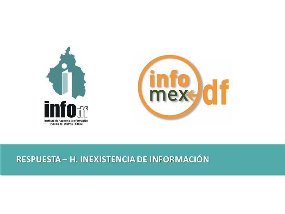 RESPUESTA – H. INEXISTENCIA DE INFORMACIÓNRESPUESTA – H. INEXISTENCIA DE INFORMACIÓN