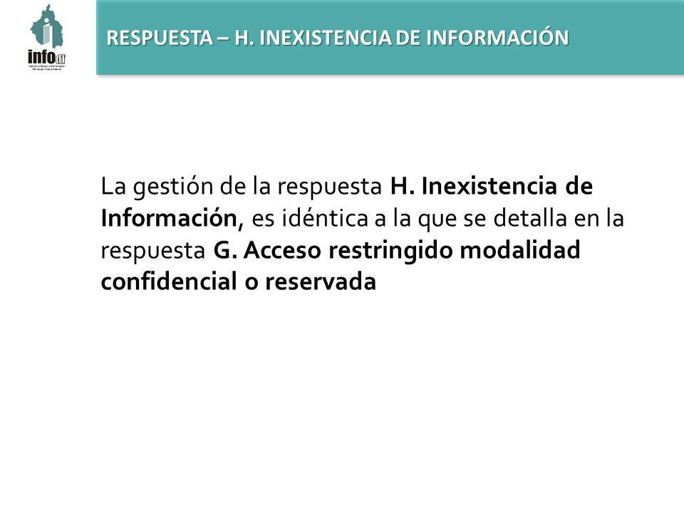 RESPUESTA – H. INEXISTENCIA DE INFORMACIÓN La gestión de la respuesta H.