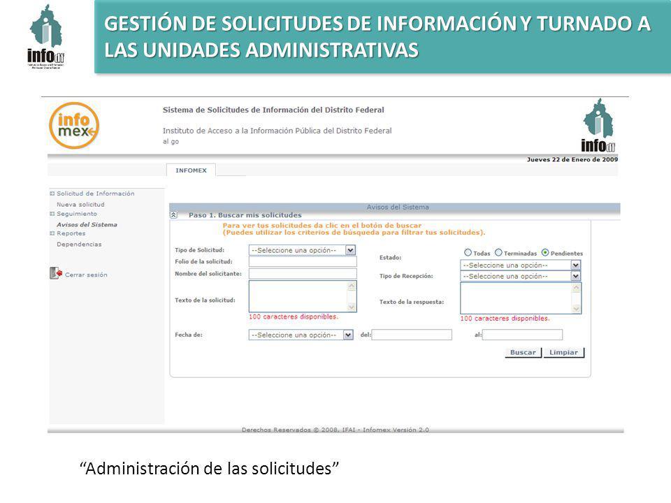 Administración de las solicitudes