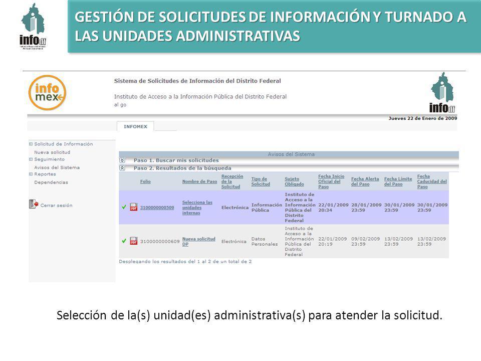 GESTIÓN DE SOLICITUDES DE INFORMACIÓN Y TURNADO A LAS UNIDADES ADMINISTRATIVAS Selección de la(s) unidad(es) administrativa(s) para atender la solicitud.