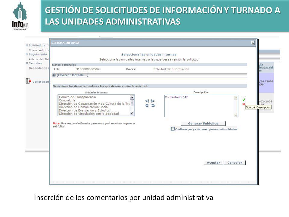 GESTIÓN DE SOLICITUDES DE INFORMACIÓN Y TURNADO A LAS UNIDADES ADMINISTRATIVAS Inserción de los comentarios por unidad administrativa