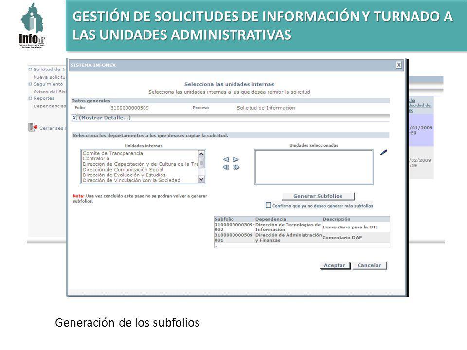 GESTIÓN DE SOLICITUDES DE INFORMACIÓN Y TURNADO A LAS UNIDADES ADMINISTRATIVAS Generación de los subfolios