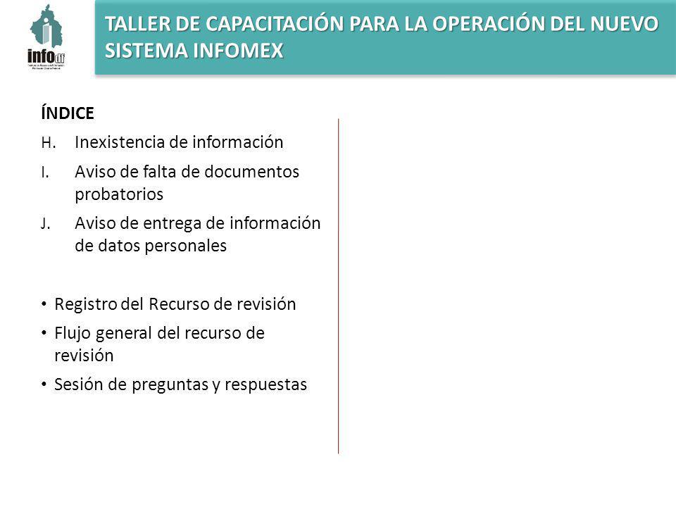 ÍNDICE H. Inexistencia de información I. Aviso de falta de documentos probatorios J.