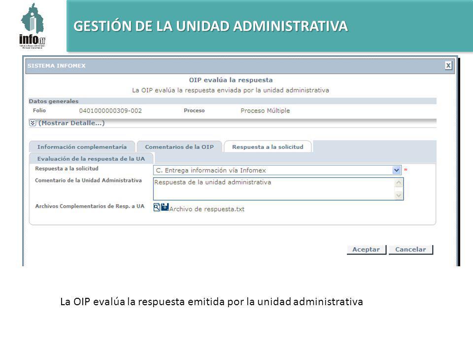 La OIP evalúa la respuesta emitida por la unidad administrativa