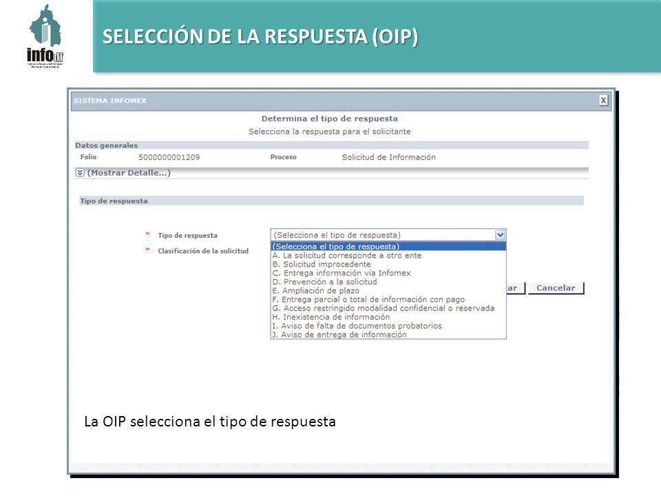 La OIP selecciona el tipo de respuesta