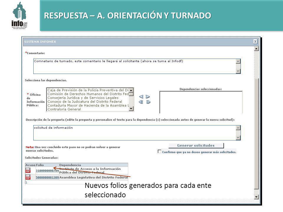 RESPUESTA – A. ORIENTACIÓN Y TURNADO Nuevos folios generados para cada ente seleccionado