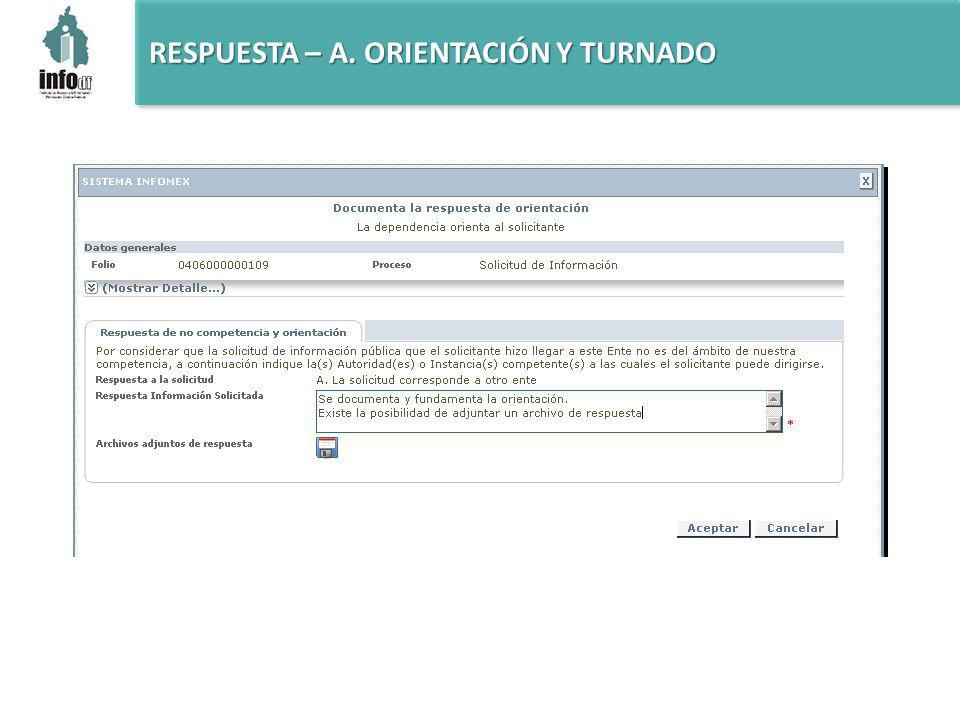 RESPUESTA – A. ORIENTACIÓN Y TURNADO
