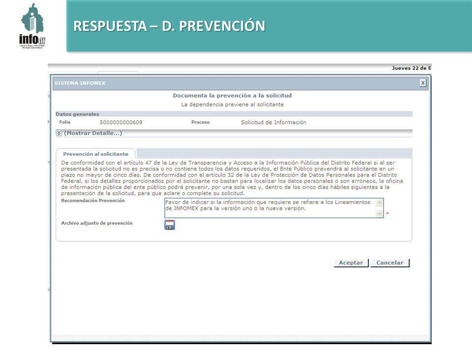RESPUESTA – D. PREVENCIÓN
