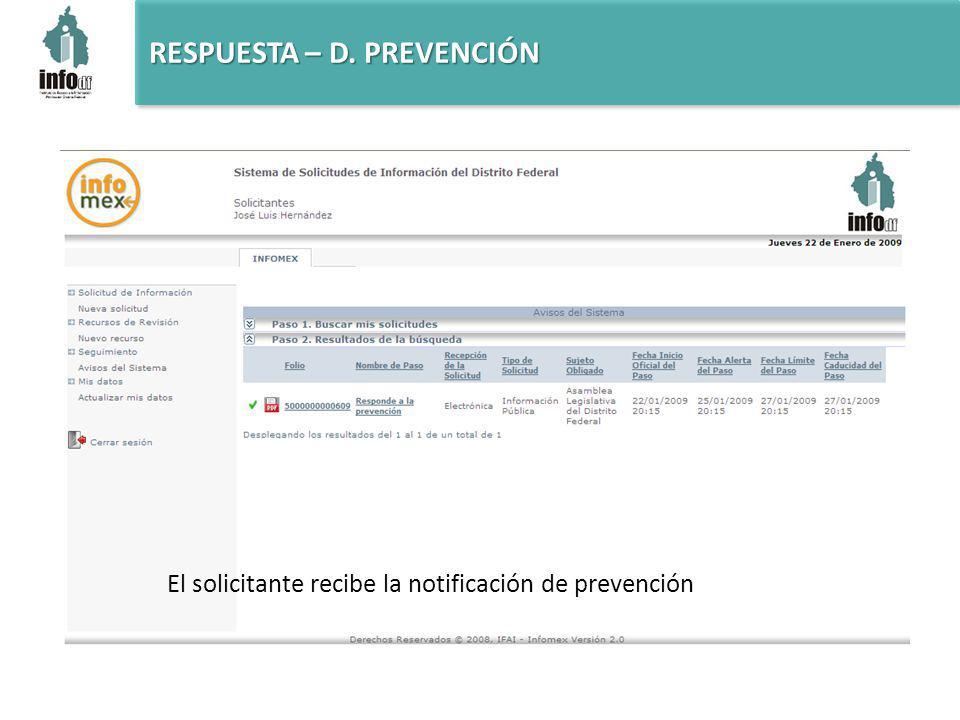 El solicitante recibe la notificación de prevención