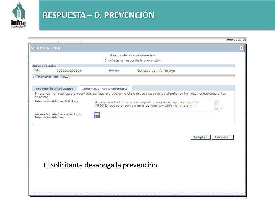El solicitante desahoga la prevención