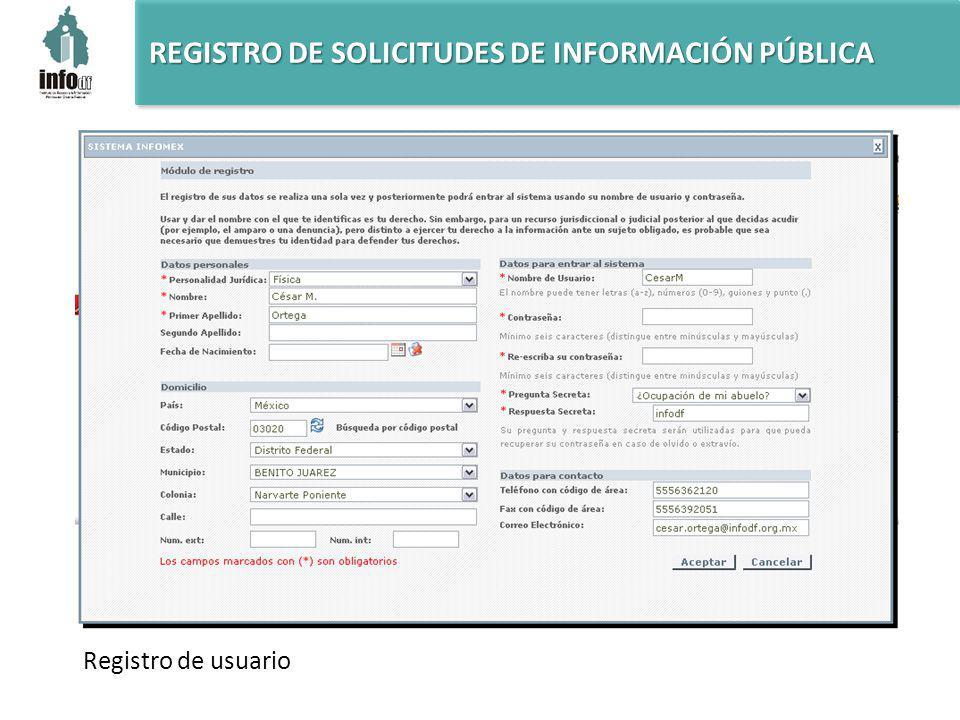 REGISTRO DE SOLICITUDES DE INFORMACIÓN PÚBLICA Registro de usuario
