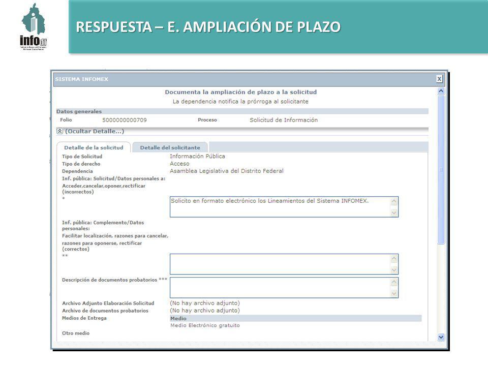 RESPUESTA – E. AMPLIACIÓN DE PLAZO