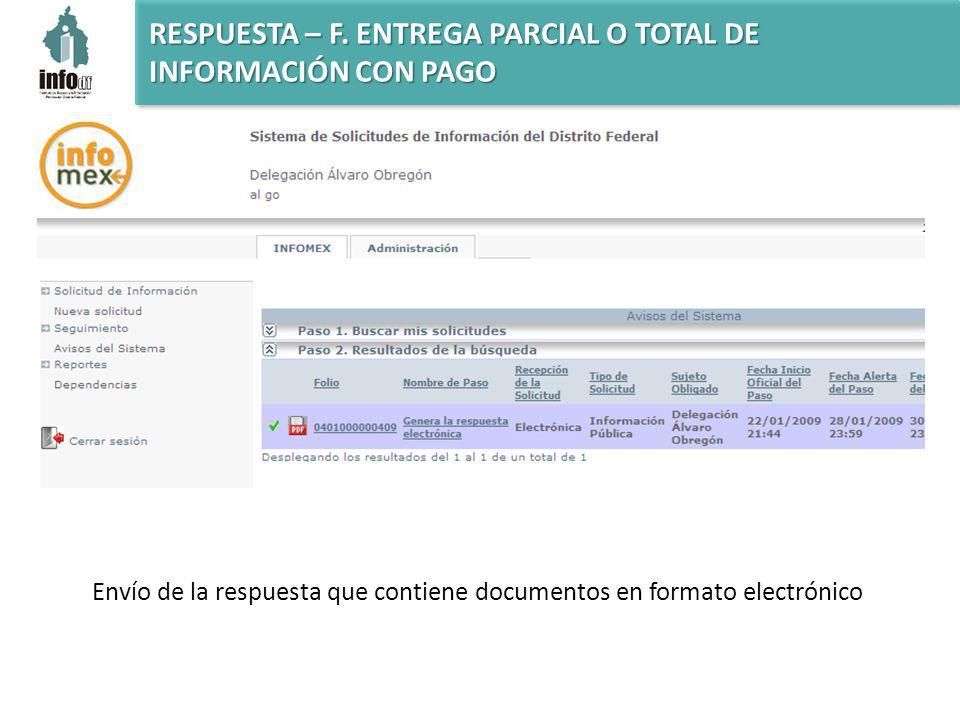 Envío de la respuesta que contiene documentos en formato electrónico