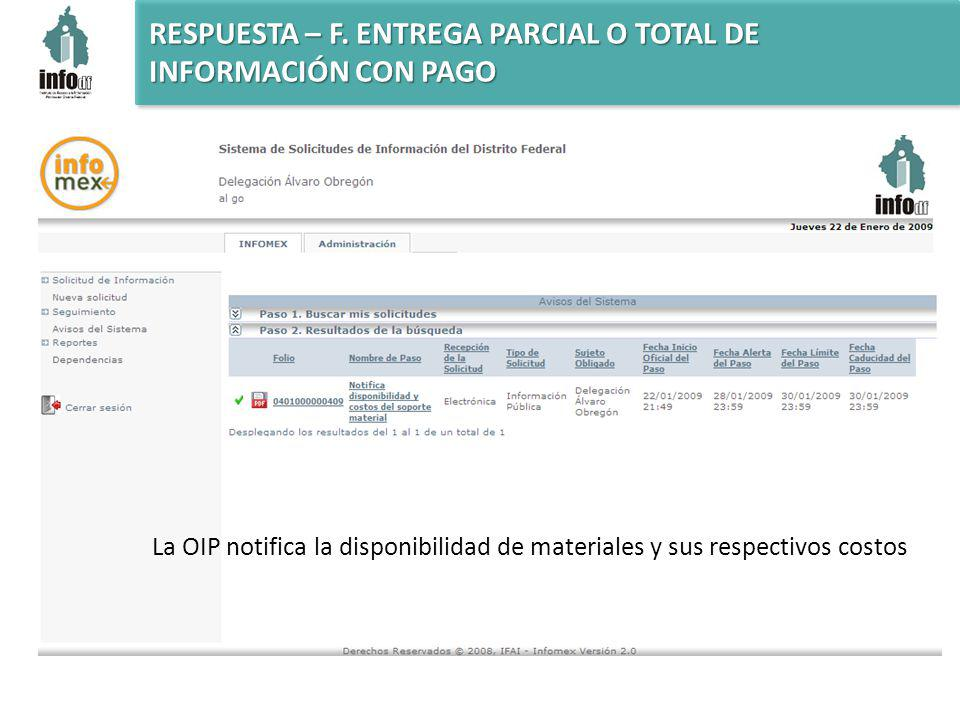La OIP notifica la disponibilidad de materiales y sus respectivos costos