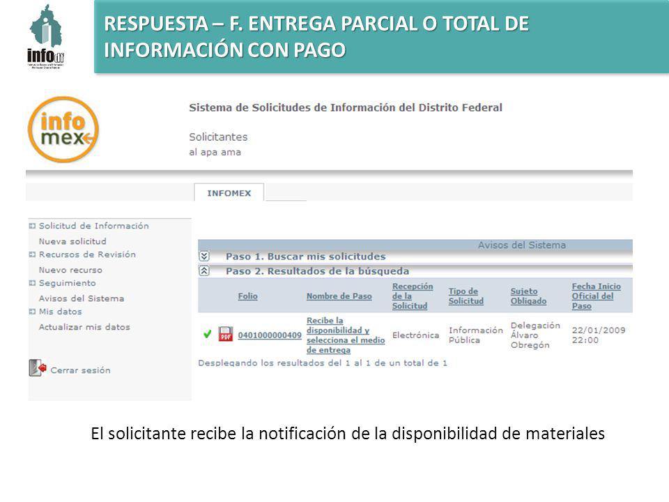 El solicitante recibe la notificación de la disponibilidad de materiales