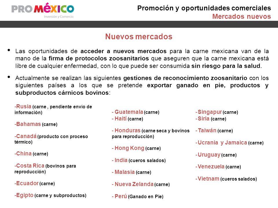 Promoción y oportunidades comerciales Mercados nuevos Las oportunidades de acceder a nuevos mercados para la carne mexicana van de la mano de la firma