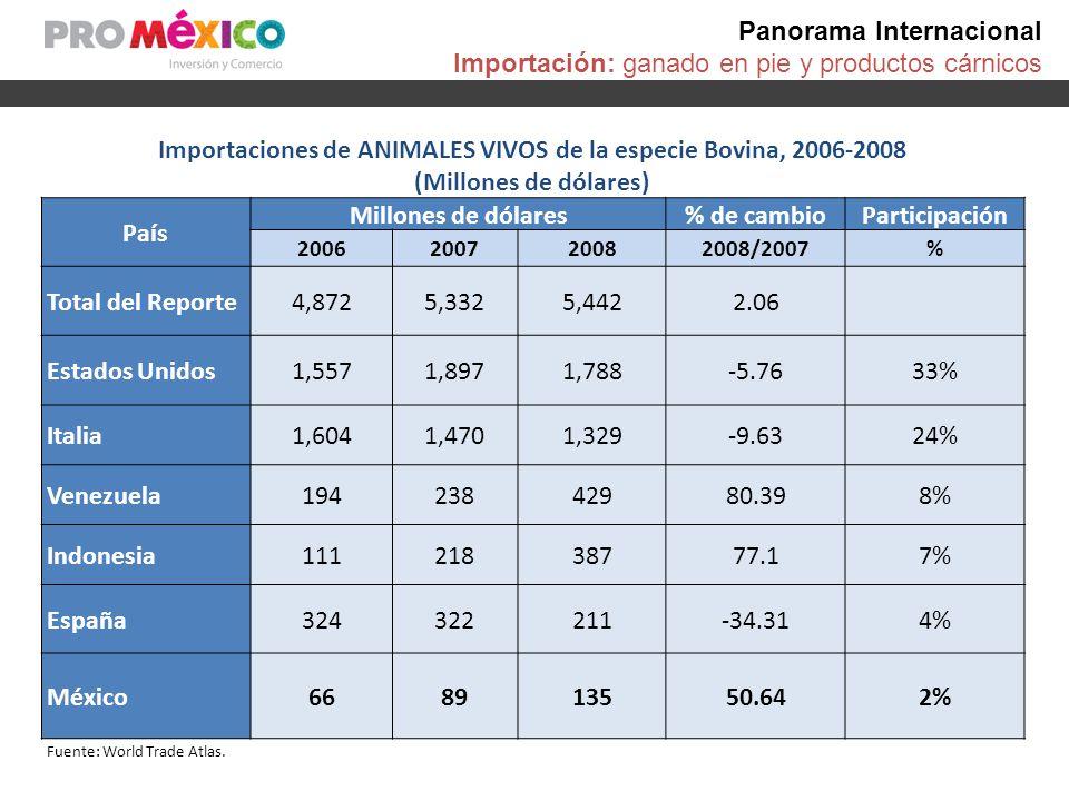 Panorama Internacional Importación: ganado en pie y productos cárnicos Importaciones de ANIMALES VIVOS de la especie Bovina, 2006-2008 (Millones de dó