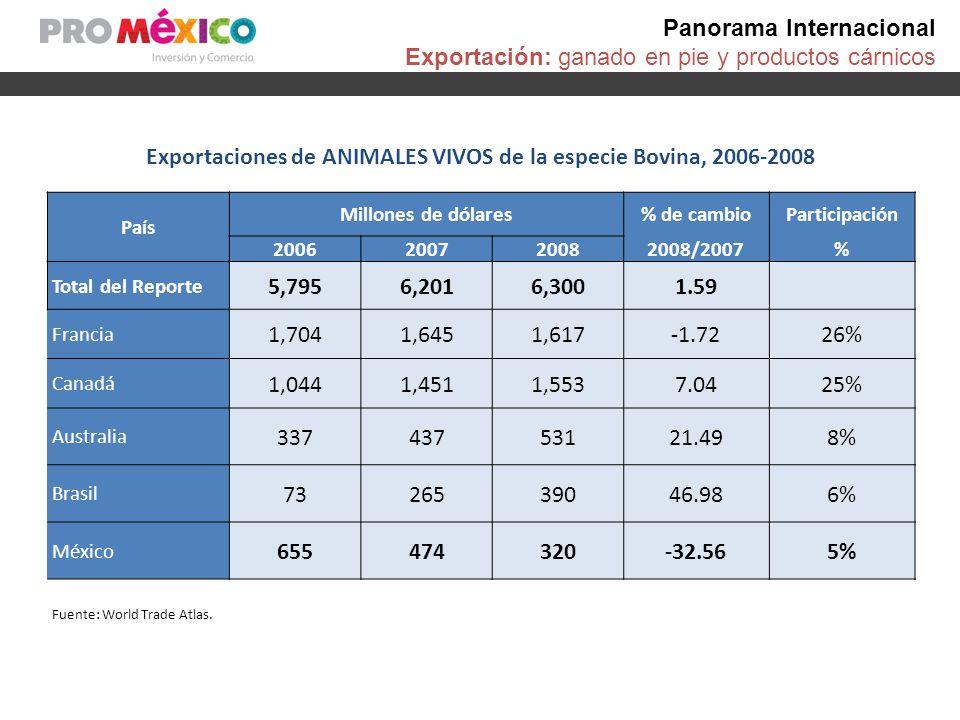 Panorama Internacional Exportación: ganado en pie y productos cárnicos Exportaciones de Países, 2006-2008 CARNE DE BOVINO 1 País Millones de dólares % de cambio 2008/2007 Participación % 200620072008 Total del Reporte 21,63124,40128,96818.72 1 Australia 3,7293,8294,23810.6715% 2 Brasil 3,1353,4864,00614.9314% 3 Países Bajos 2,2792,7132,9699.4310% 4 Estados Unidos 1,4271,9172,73242.59% 5 Alemania 1,8091,8802,19316.618% 19 MÉXICO 135149145-2.641% 1.