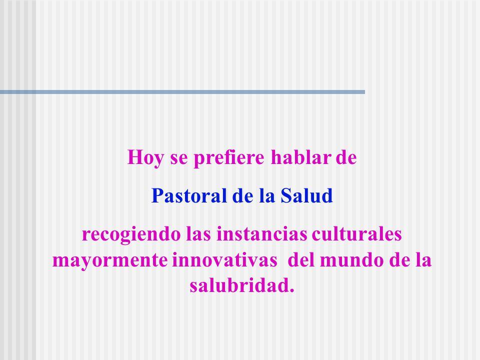 Se utilizaban otros términos que señalaban a los destinatarios de la acción pastoral (pastoral de los enfermos y de los que sufren), el contexto (pastoral hospitalaria), el ámbito (pastoral del sufrimiento).