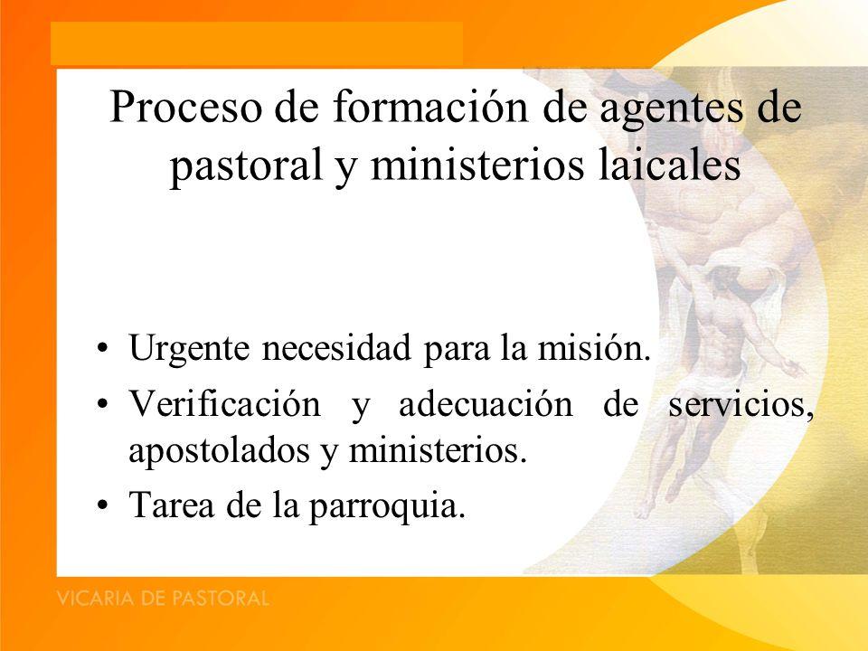 Proceso de formación de agentes de pastoral y ministerios laicales Urgente necesidad para la misión.