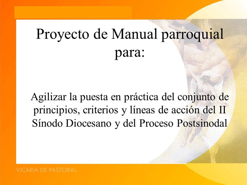 Proyecto de Manual parroquial para: Agilizar la puesta en práctica del conjunto de principios, criterios y líneas de acción del II Sínodo Diocesano y del Proceso Postsinodal