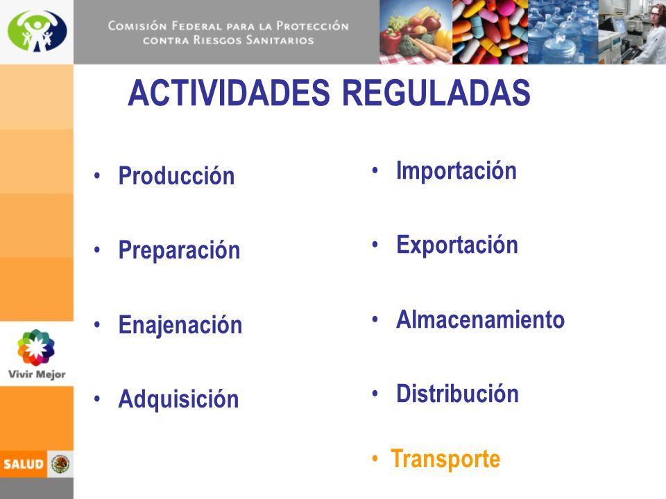 ACTIVIDADES REGULADAS Producción Preparación Enajenación Adquisición Importación Exportación Almacenamiento Distribución Transporte