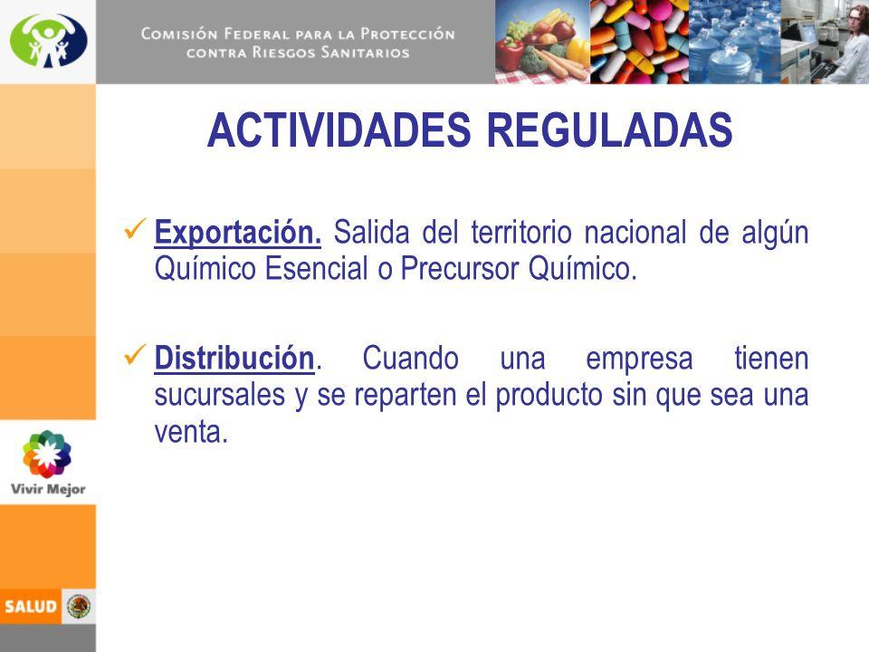 ACTIVIDADES REGULADAS Exportación. Salida del territorio nacional de algún Químico Esencial o Precursor Químico. Distribución. Cuando una empresa tien