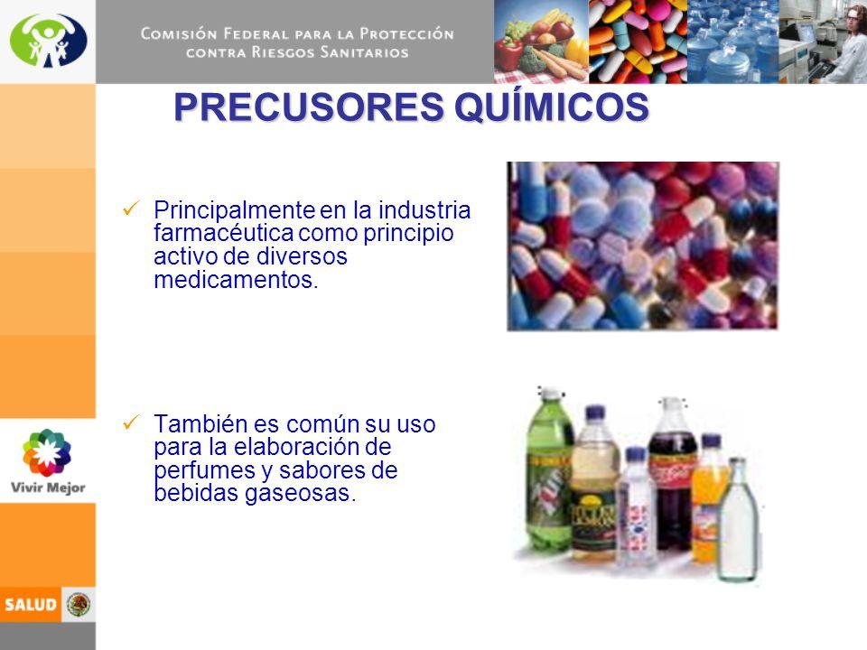 PRECUSORES QUÍMICOS Principalmente en la industria farmacéutica como principio activo de diversos medicamentos. También es común su uso para la elabor