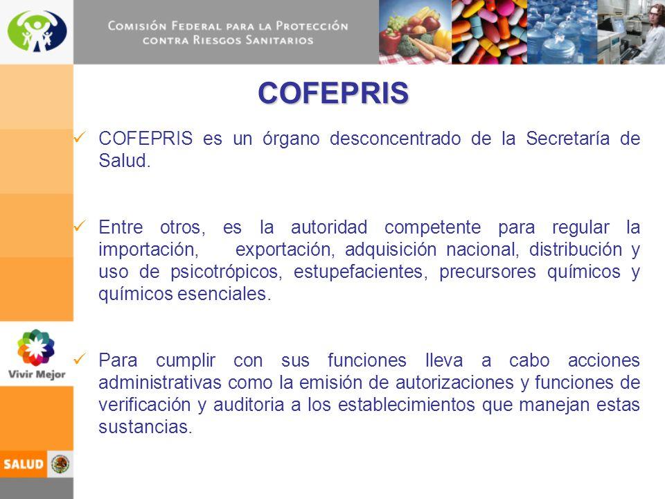 COFEPRIS es un órgano desconcentrado de la Secretaría de Salud. Entre otros, es la autoridad competente para regular la importación, exportación, adqu